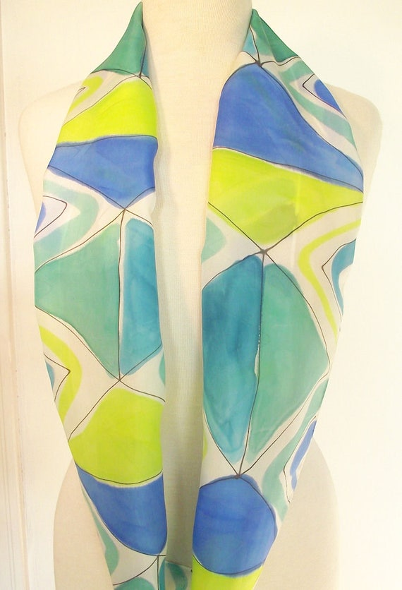 Hand Painted Silk Infinity Scarf - Modern Abstract in Turquoise, Teal Green, Chartreuse and Royal Blue - 9 x 60""