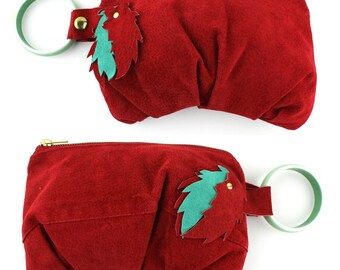 Red Suede Leather Bracelet Purse with Seafoam Green Bracelet & Lining - eco repurposed leather