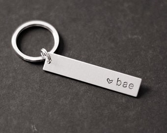 Bae Keychain, Hand Stamped Keychain, Gifts for Her, Gifts for Him, Wedding Gift, Valentine's Gift, Gift Under 15, Stocking Stuffer