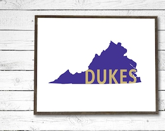 JMU Inspired Dukes Virginia Purple/Gold Instant PDF Printable - College/University/Dorm Decor, Wall Art Sign