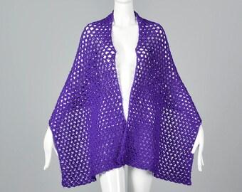 1970s Knit Scarf Wrap Purple Autumn Separates Autumn Accessories 70s Vintage Winter Scarf Winter Wrap