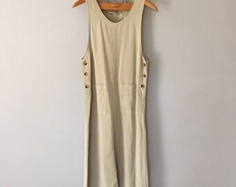 light olive denim pinafore | side button pocket pinafore dress