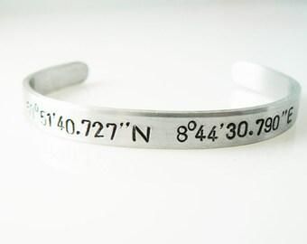 Coordinate Bracelet, Latitude Longitude, Custom Bracelet, Geographical Address, Gift for a Freind, Graduation Gift