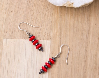 Hematite and Red bead stack sterling silver earrings -  Red glass and grey gemstone stripy silver dangle earrings | Fun unique disk earrings