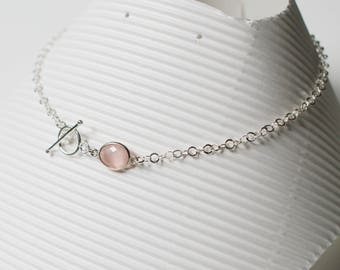 Rose quartz and sterling silver neck Choker
