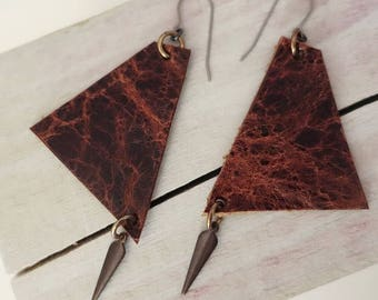 Asymmetrical Orange Brown Leather Earrings with Charms