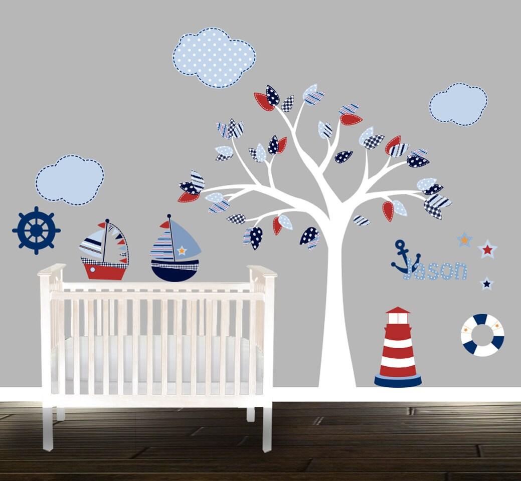 Jungen-Kinderzimmer-Wandtattoo-set nautische Wandtattoos