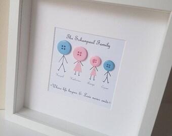 Family Tree / Family Stickman Frame / Family Gift / Family Box Frame