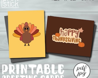 "Thanksgiving Card - Printable Greeting Card 4.25""x5.5"" - Fall Cards"