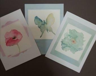 Flower,butterfly Watercolor art cards,original,garden,greeting,note,birthday,female.