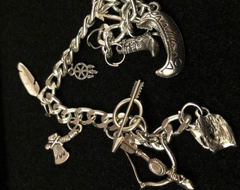 "Native American charm bracelet simple lightweight metals 8"""