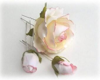 White Hair Flower Pins Set Hair pins Wedding Headpiece Bridal flower hair Bridesmaid flower Traditional Wedding Rose Hair pin Bridesmaid