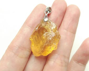 Hammered Citrine Nuggets with Rhodium plated Sterling Silver Bail One Piece J6183