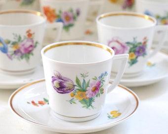 Vintage Royal Copenhagen Demitasse Cup & Saucer Set.  Saxon Flower. Saksisk Blomst 1960s. Nordic Flower Garden Motives.
