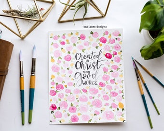 Created in Christ Roses Watercolor Print