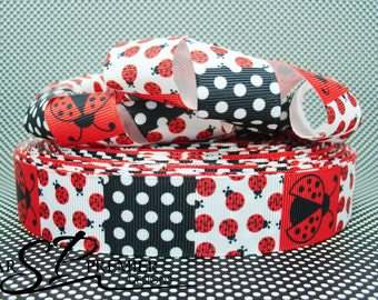 "1"" Ladybug Grosgrain Ribbon"
