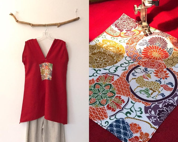crimson linen tunic top with kimono silk motif / ready to wear / size M / red linen vest / women clothing / size M or L / sleeveless top /