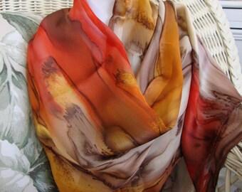 Scarf, Silk, Women, Hand Dyed, Southwest Sunset Silk Scarf, Chestnut Apricot Crimson Havanis