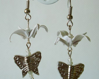 Handmade Origami Earrings with Cranes of Happiness Metallic Paper White Glitter Butterfly