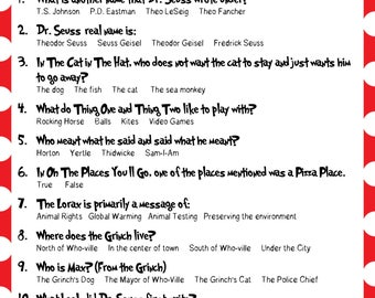 Dr. Seuss Trivia - Baby Shower, Bridal Shower, Classrooms, Read Across America