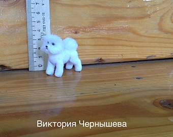 Miniature  dog Bichon Frise,Bichon Frise,miniature ,miniature animal, Dollhouse realistic dog. TO ORDER!!!