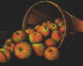 Basket of Apples Cross Stitch Pattern PDF, Fruits Cross Stitch, Counted Cross Stitch, Art Cross Stitch, Levi Wells Prentice