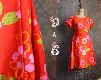 Sz S-M 70s Vintage Orange Red Baby Doll Floral Spring Summer Mini Dress