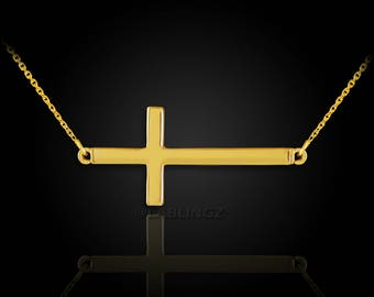 14K Solid Gold Sideways Cross Necklace (yellow, white, rose gold)