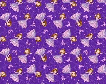 Disney Princess Fabric: Disney Sofia the First Princess Sofia All Over on Purple 100% cotton Fabric By The Yard (65381)