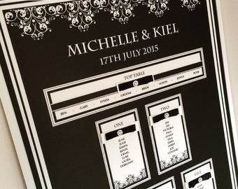 Black and Ivory Wedding Table Plan, Black Tie Seating Plan, Seating Chart