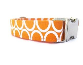 Orange Dog Collar with Nickel Plate Hardware, Tangerine Circles Dog Collar, Summer Dog Collar, Boy Dog Collar, Girl Dog Collar