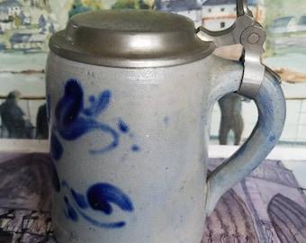 German Salt Glazed Stoneware Tankard!