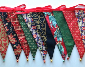Festive bunting with multi coloured bells