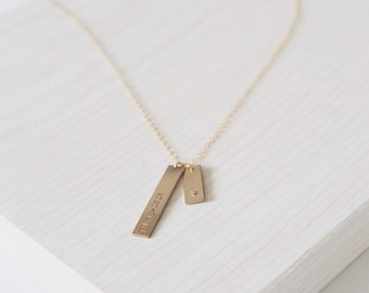 The Rika Necklace | 14k Double Bars Necklace | Personalized Jewelry