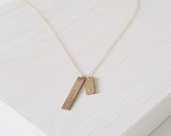 Le collier de Rika | 14 k collier en Double barres | Bijoux personnalisés