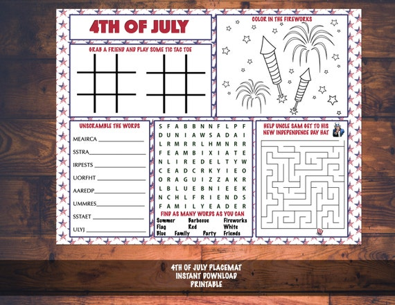 4th of July Independence Day Kids Activity Printable Placemat Instant Download