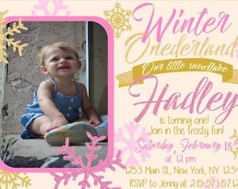 Glitter Winter Onderland Birthday Invite