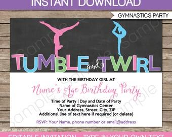 Gymnastics Invitation Template - Gymnastics Birthday Party Invite - Printable Chalkboard Invitation - INSTANT DOWNLOAD with EDITABLE text