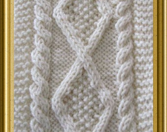 Diamond Aran Style Scarf PDF knitting pattern