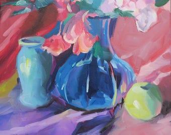 impressionist still life floral oil - pink peonies pink roses impressionistic painting - blue glass vase - green apple still life - purple