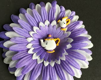 Mrs Potts and Chip hair flower clip
