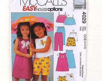 McCall's Toddler Tops, Dress, Shorts & Pants Sewing Pattern #4029 - Size 3+4+5+6 (Breast 23+24+25+26) - UNCUT Factory Folded