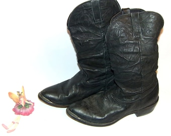 Durango Men's Slouch Boots Leather Boot Size 10D 90's Vintage LOW & Fast Shipping