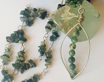 Tree Agate Necklace - Jade Jewelry - Leaf Pendant Necklace - Wire Wrapped Necklace - Bohemian Jewelry - Gemstone Necklace - Healing Crystals