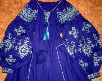 BLUE Maxi Embroidered Dress Ethnic Boho Chic Linen Ukrainian Vyshyvanka