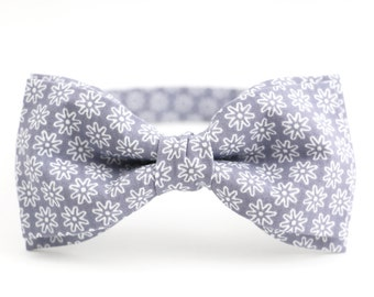 Gray Bow Tie for Men Floral Bow Tie Ash Grey Bow Tie Pre Tied Bow Tie for Wedding Gift for Men Handmade Bow Tie Mens Bow Tie Gainsboro