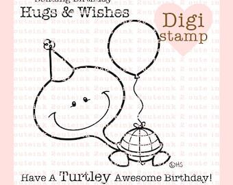 Birthday Turtle Digital Stamp - Turtle Digital Stamp - Birthday Stamp - Turtle Art - Turtle Craft Supply