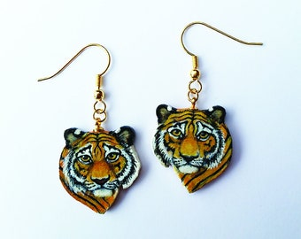 Tiger Earrings Dangle Hand Painted and Orange Sparkle