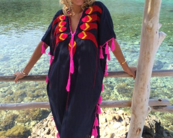 Mexican cotton kaftan with multi color hand embroidery and happy tassels