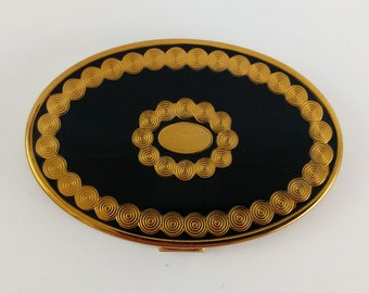 Richard Hudnut Rouge Compact With Mirror, Art Deco Black Champleve Enamel Vanity, Mid Century